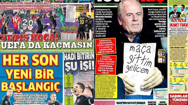Atletico Madrid - Galatasaray gazete manşetleri